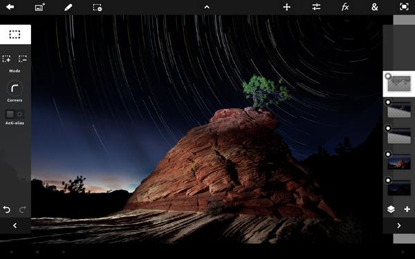Interfaz de Adobe Photoshop Touch